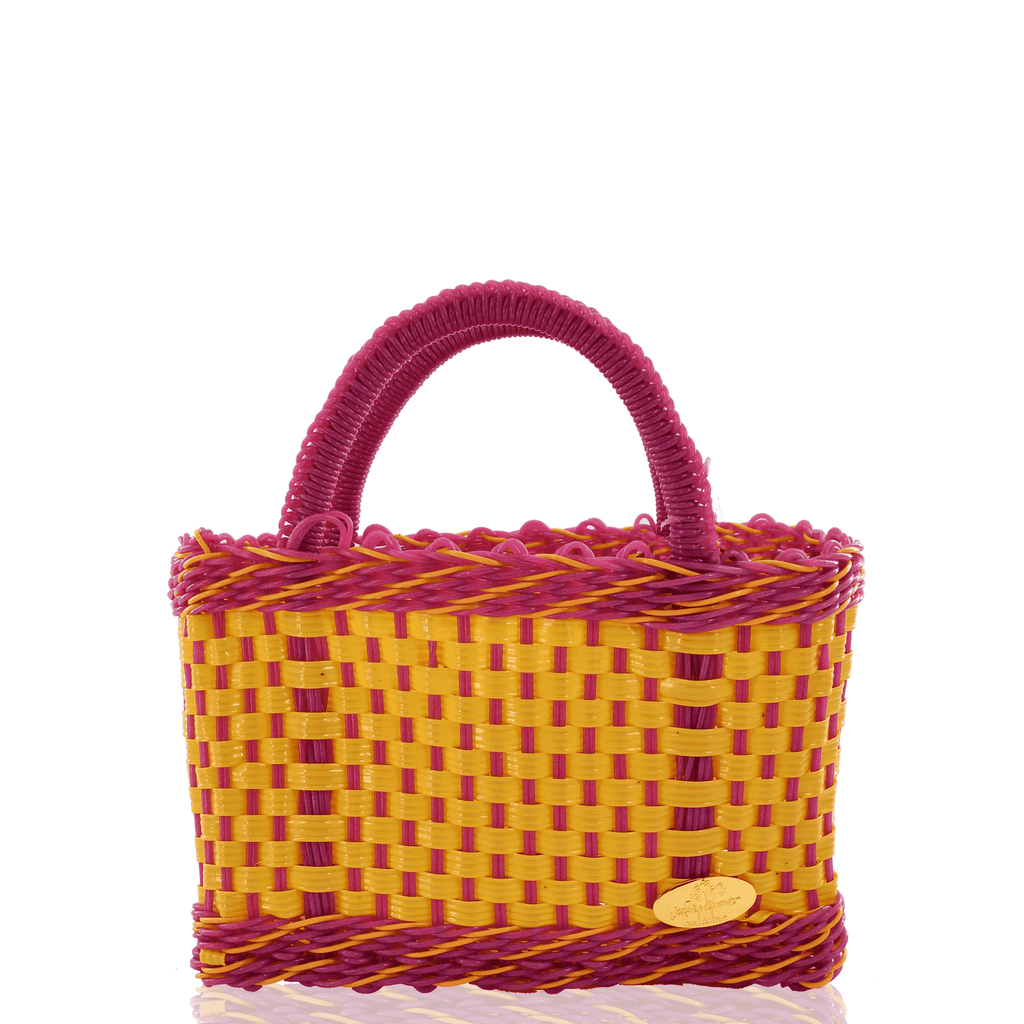 Jessica Basket Bag in Yellow and Pink - Josephine Alexander Collective