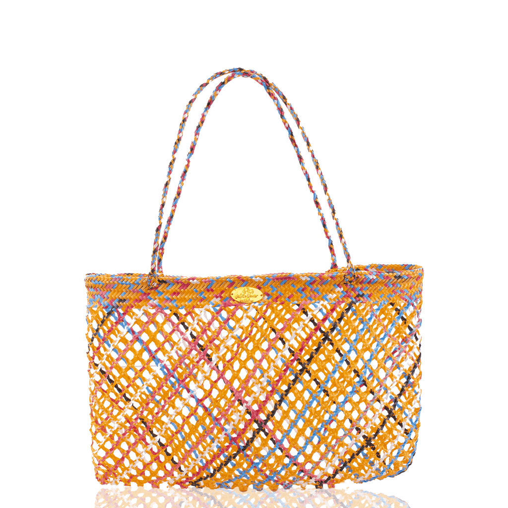 Calada Woven Mesh Bag in Multi Orange - Josephine Alexander Collective