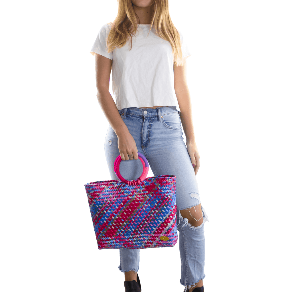 Kelly Woven Bag in Ruby Rainbow - Josephine Alexander Collective