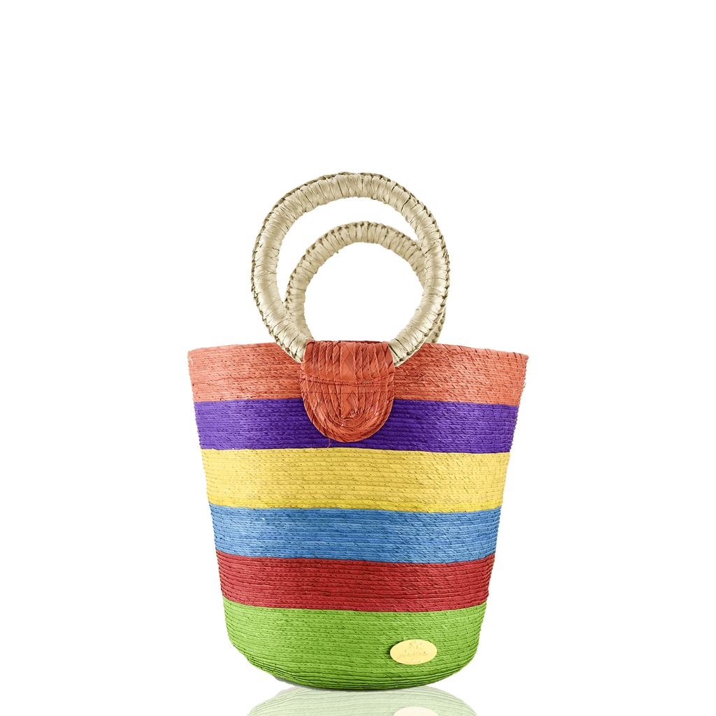 Fabiola Straw Bucket Bag in Rainbow