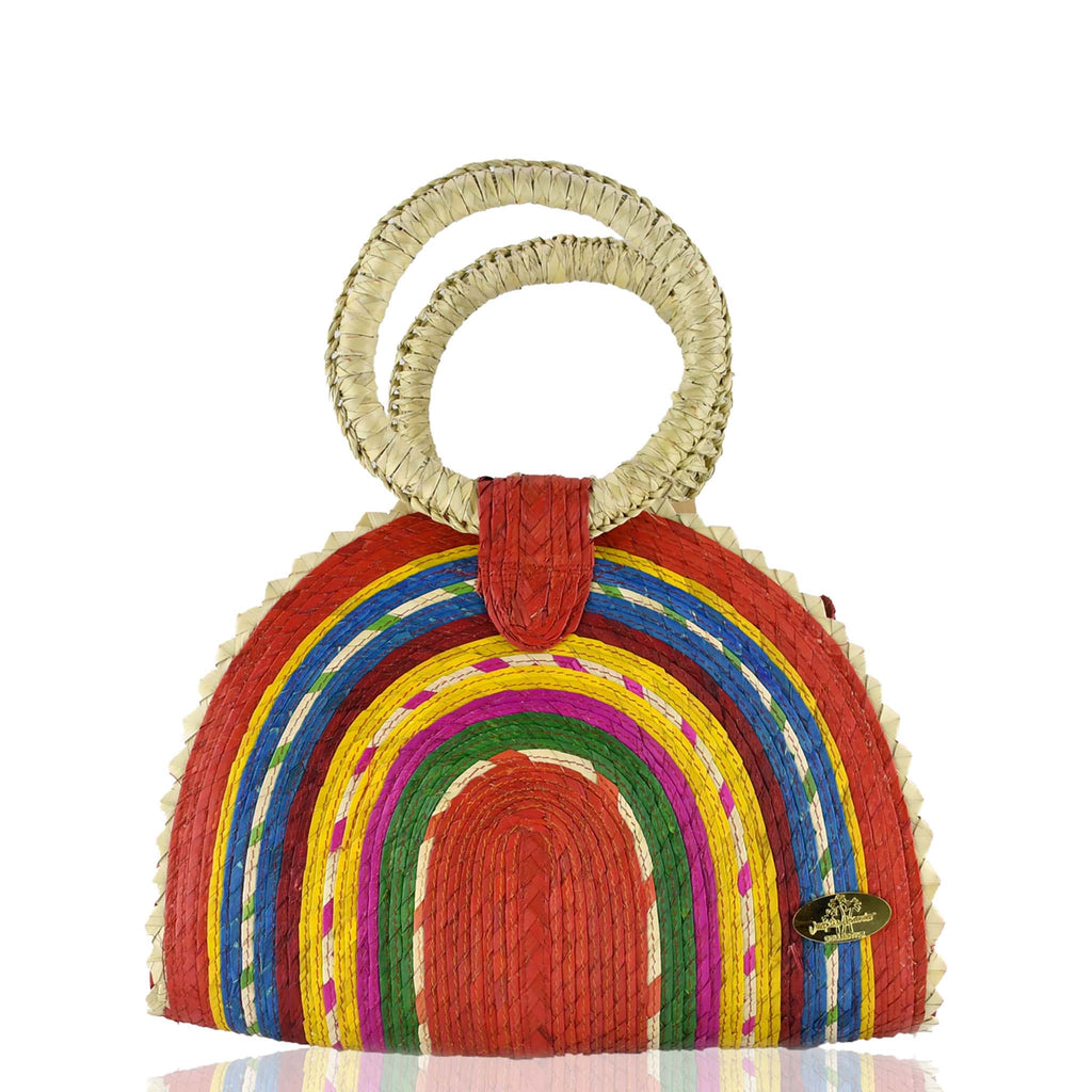 Rainbow Burst Straw Bag in Orange - Josephine Alexander Collective