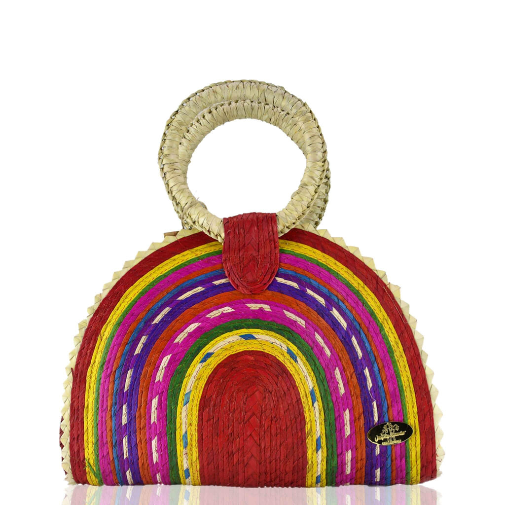 Rainbow Burst Straw Bag in Red - Josephine Alexander Collective