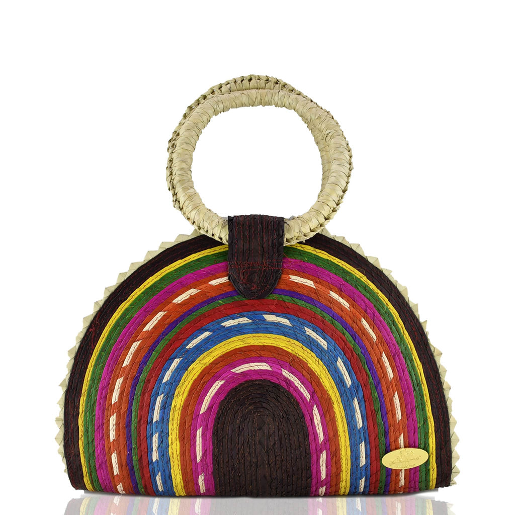 Rainbow Burst Straw Bag in Brown - Josephine Alexander Collective