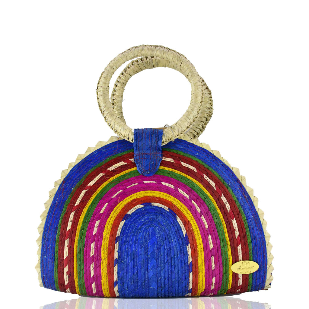Rainbow Burst Straw Bag in Blue - Josephine Alexander Collective