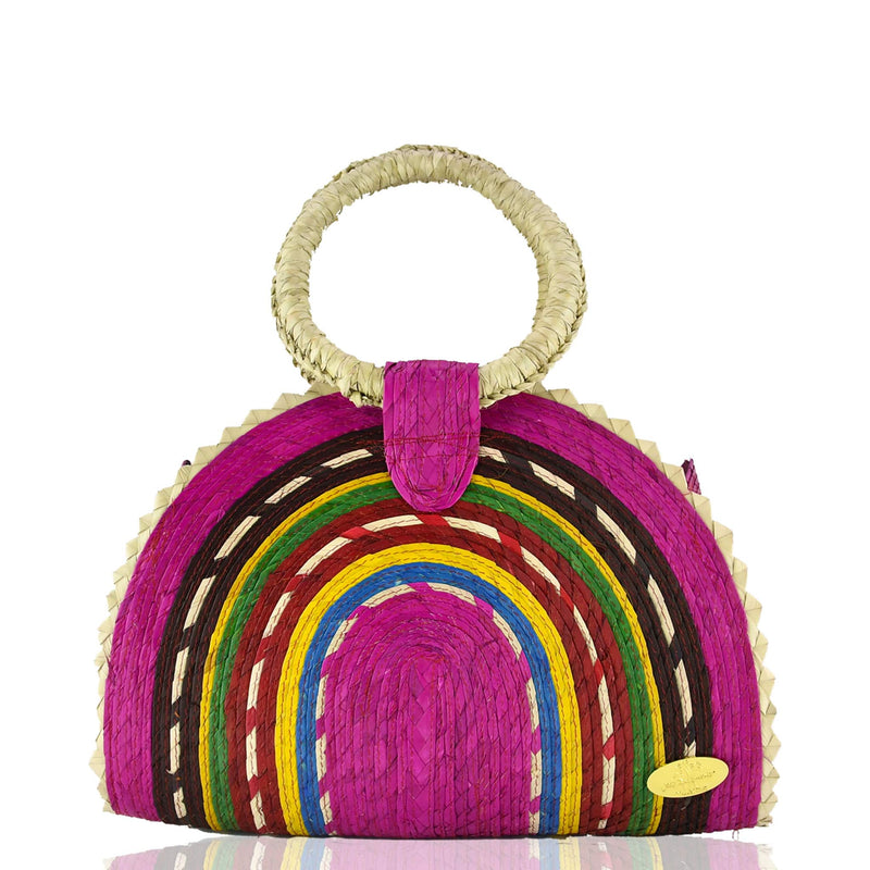 Rainbow Burst Straw Bag in Pink - Josephine Alexander Collective