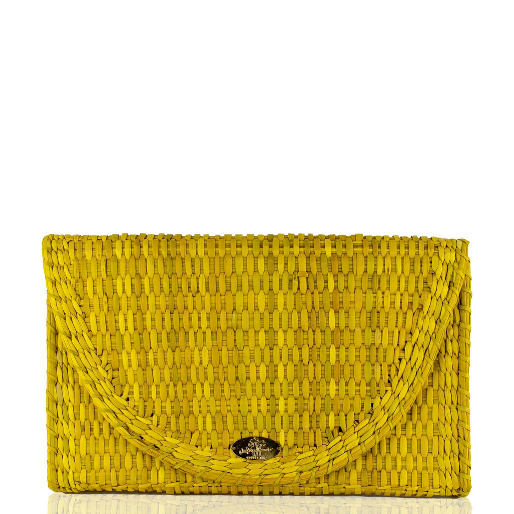 Abby Straw Clutch in Marigold