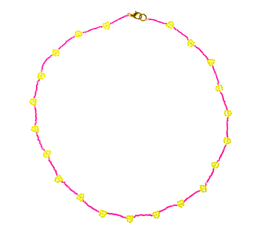 Beaded Daisy Necklace in Neon Pink and Yellow - Josephine Alexander Collective
