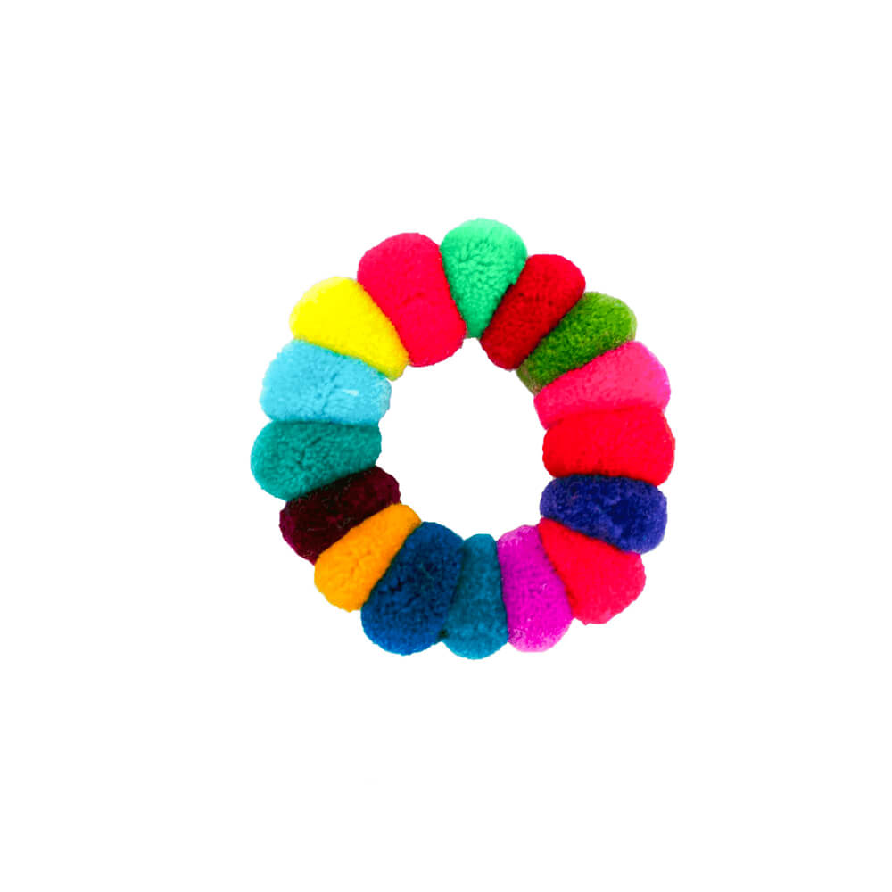 Pom Scrunchie in Rainbow