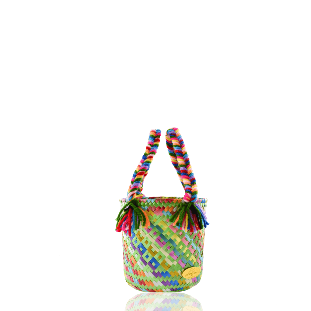 Mini Rainbow Bucket Bag in Green