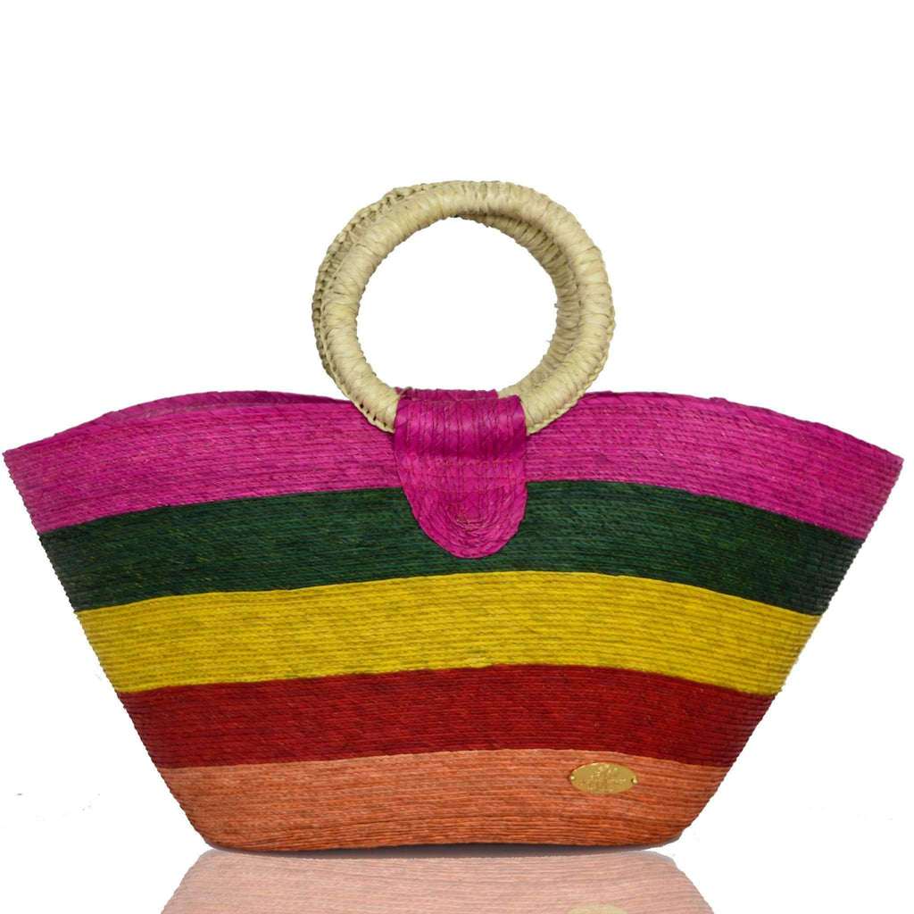Alma Straw Bucket Bag in Multi