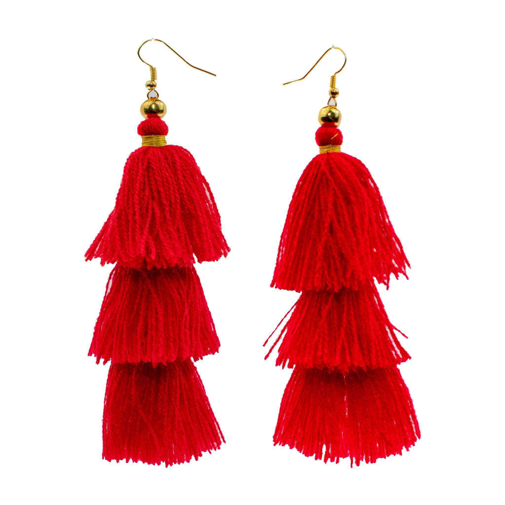 Triple Tassel Earrings in Sandia