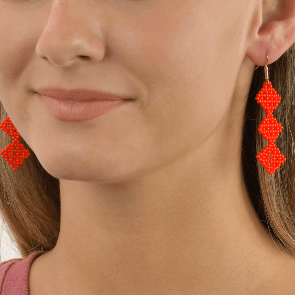 Tile Earrings in Red - Josephine Alexander Collective