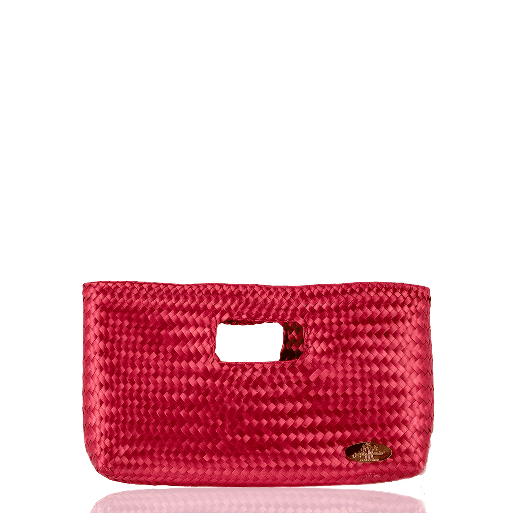 Alison Woven Clutch in Raspberry