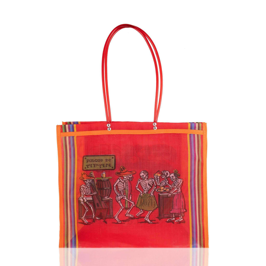 Dia de Muertos Market Bag in Red