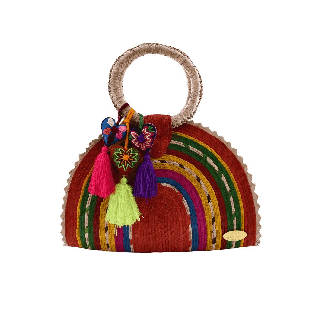 Rainbow Burst Straw Bag in Red Hearts - Josephine Alexander Collective