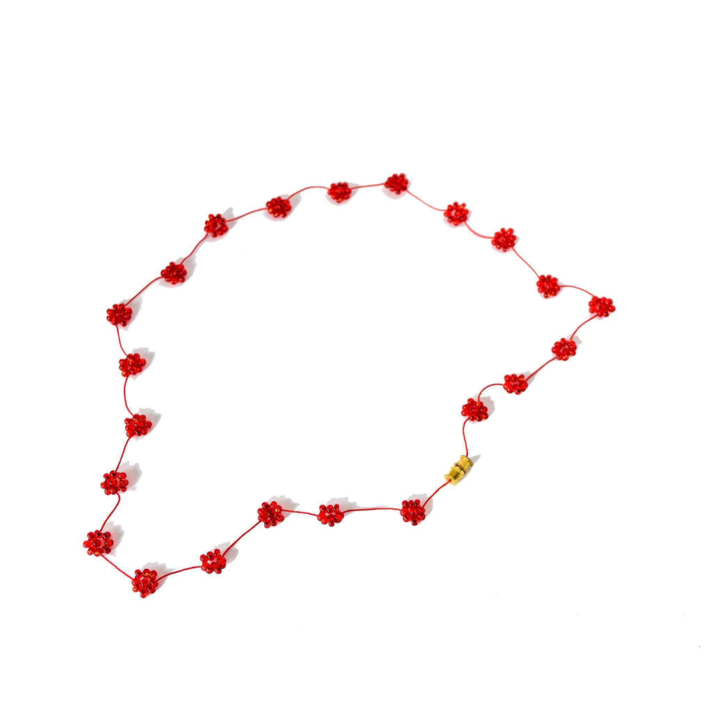 Daisy Chain Necklace in Maraschino