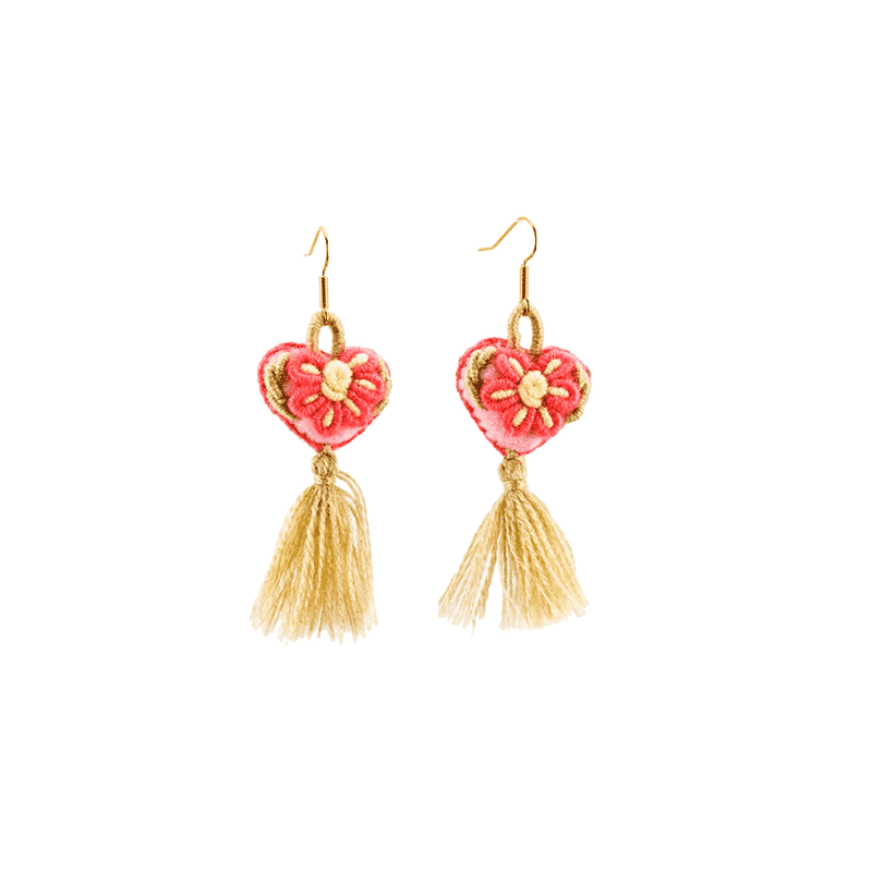 The Love-ly Earrings in Coral and Sand- Small