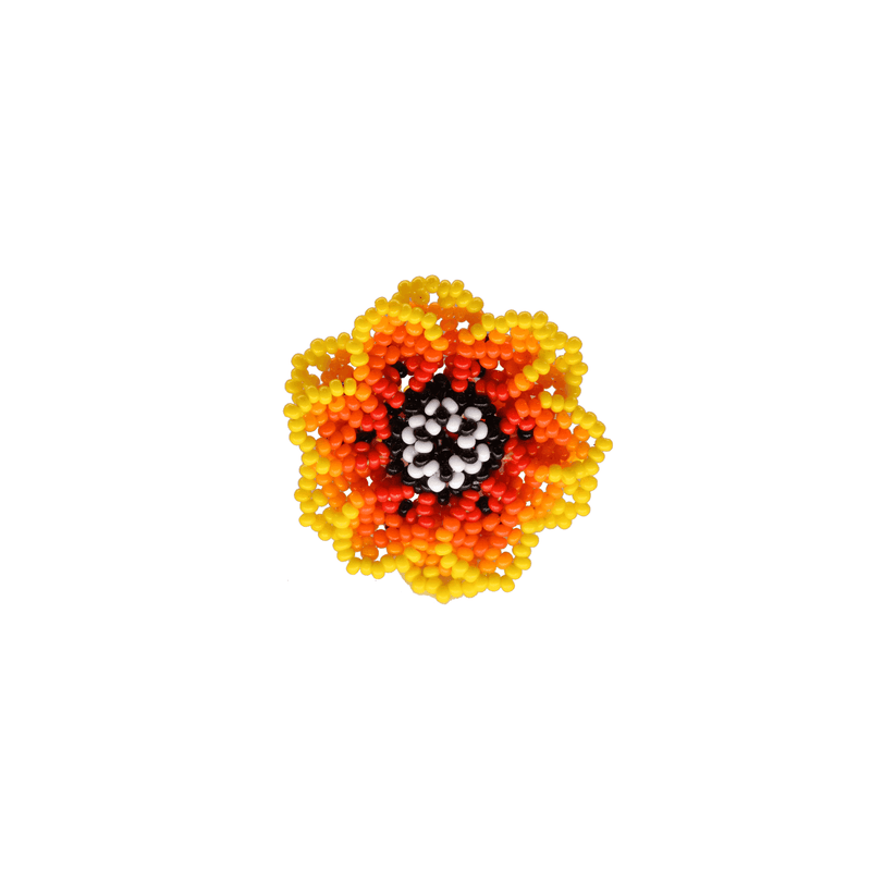 Beaded Wild Flower Ring in Yellow Hibiscus - Josephine Alexander Collective