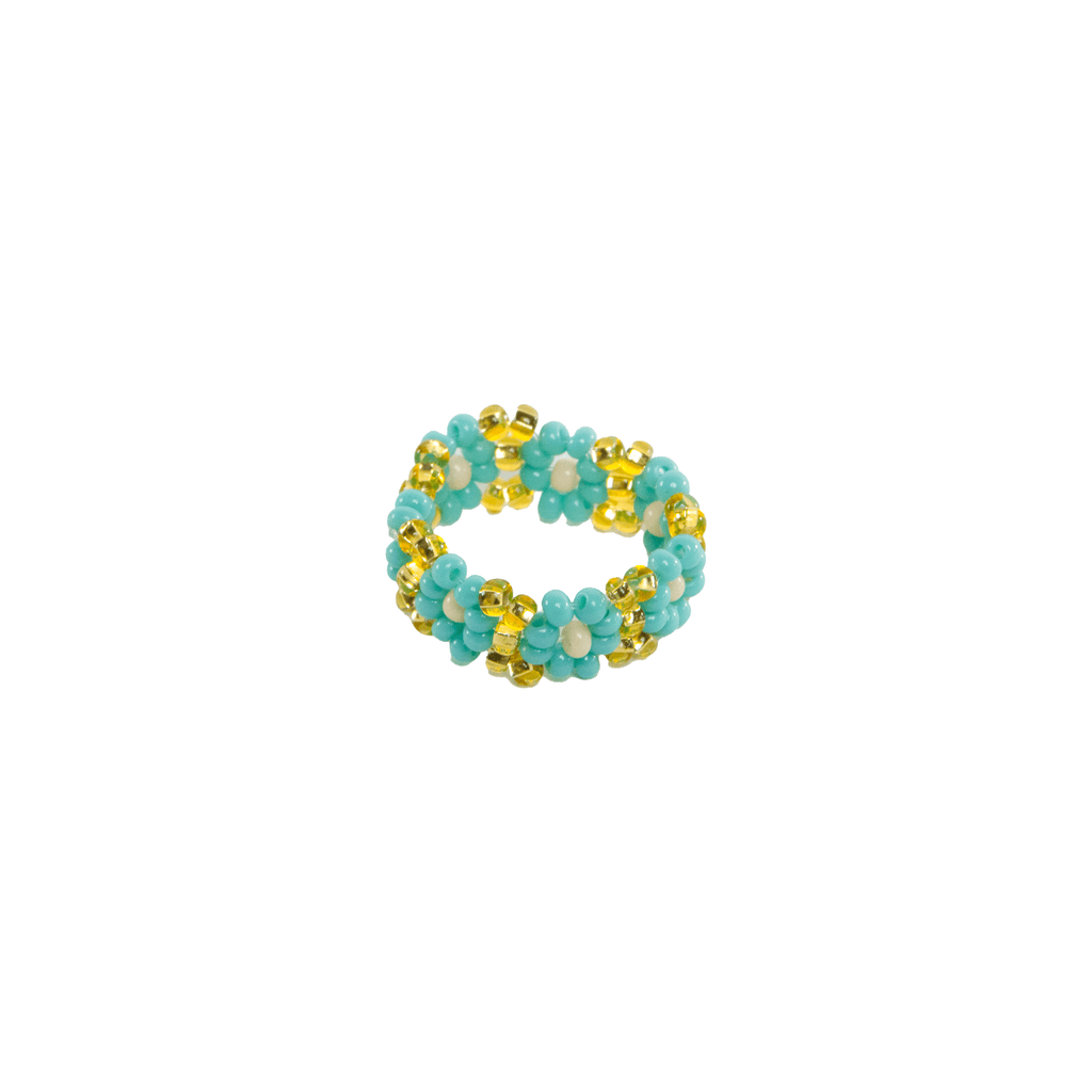 Flower Chain Ring in Turquoise Gold - Josephine Alexander Collective
