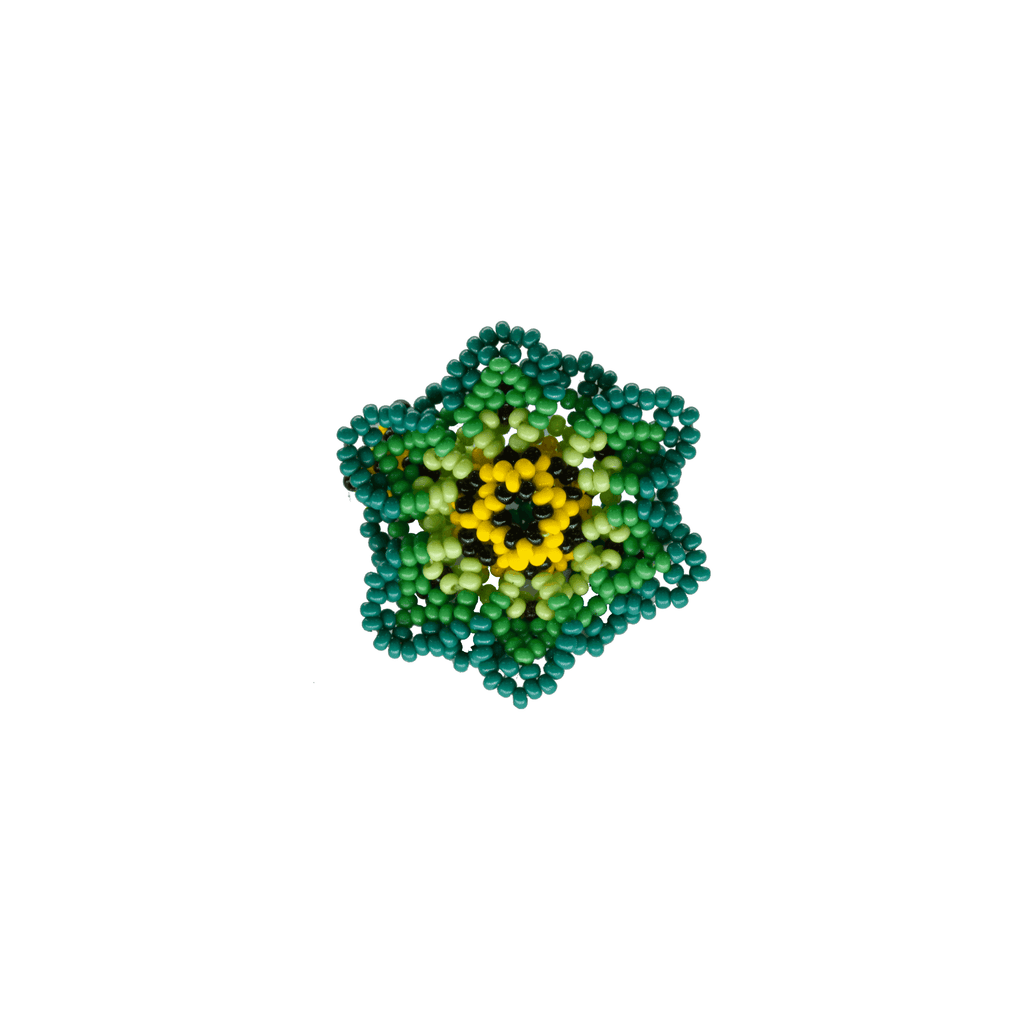 Beaded Wild Flower Ring in Lime - Josephine Alexander Collective