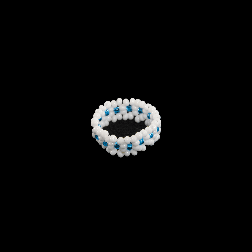 Flower Chain Ring in White and Blue - Josephine Alexander Collective