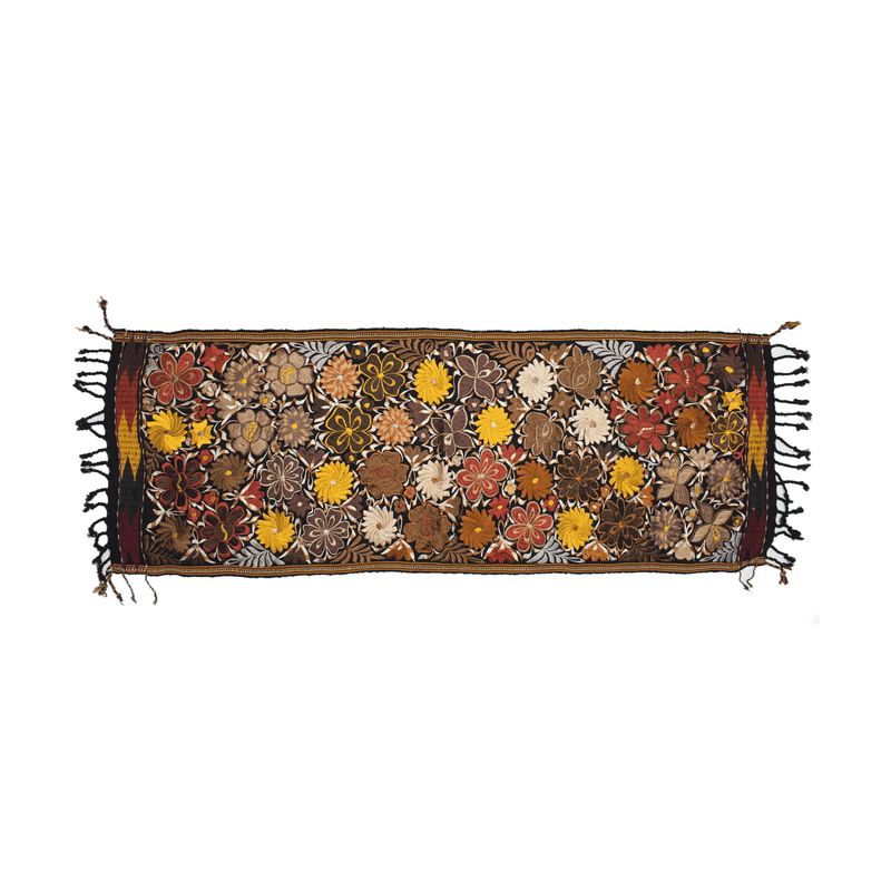 Embroidered Table Runner in Fall Hues- Black with Autumn Flowers #11 - Josephine Alexander Collective