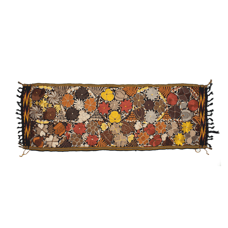 Embroidered Table Runner in Fall Hues- Black with Autumn Flowers #12 - Josephine Alexander Collective