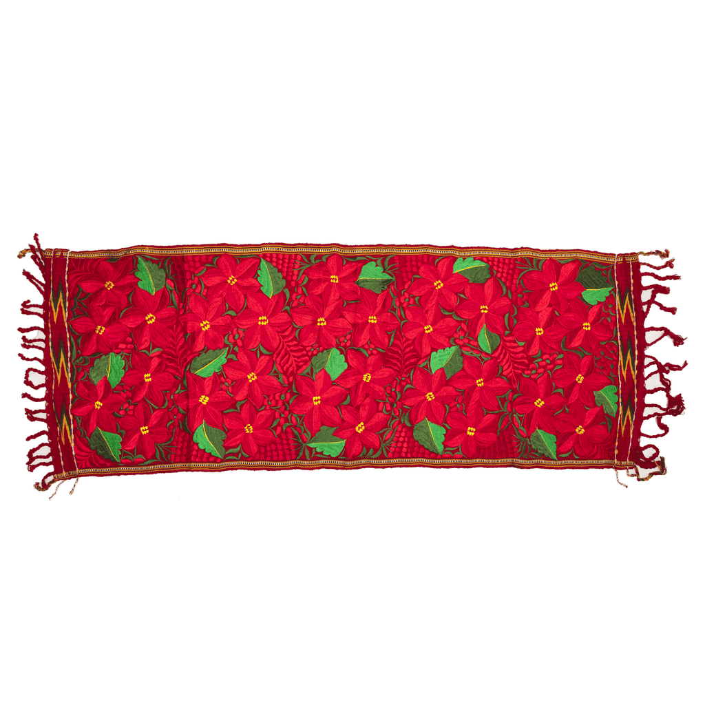 Embroidered Table Runner - Red Poinsettia - Josephine Alexander Collective