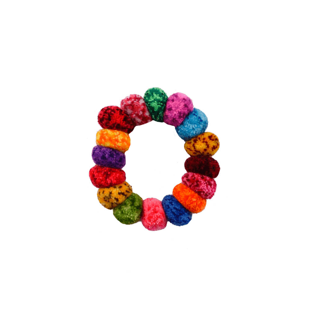 Pom Scrunchies in  Rainbow Confetti