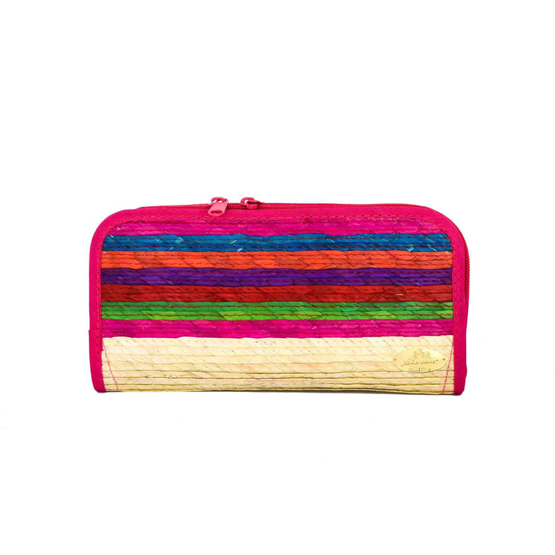 Cancun Straw Wallet in Pink Hibiscus - Josephine Alexander Collective