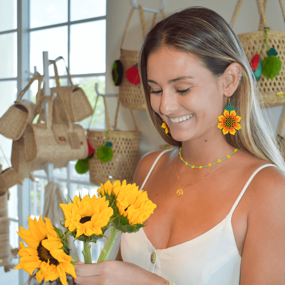 Hanging Sunflower Earrings in Yellow