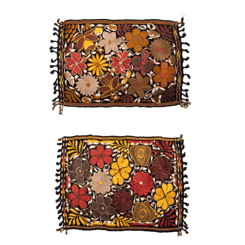 Embroidered Placemats in Fall Hues- Set of 2 - Black #2 - Josephine Alexander Collective
