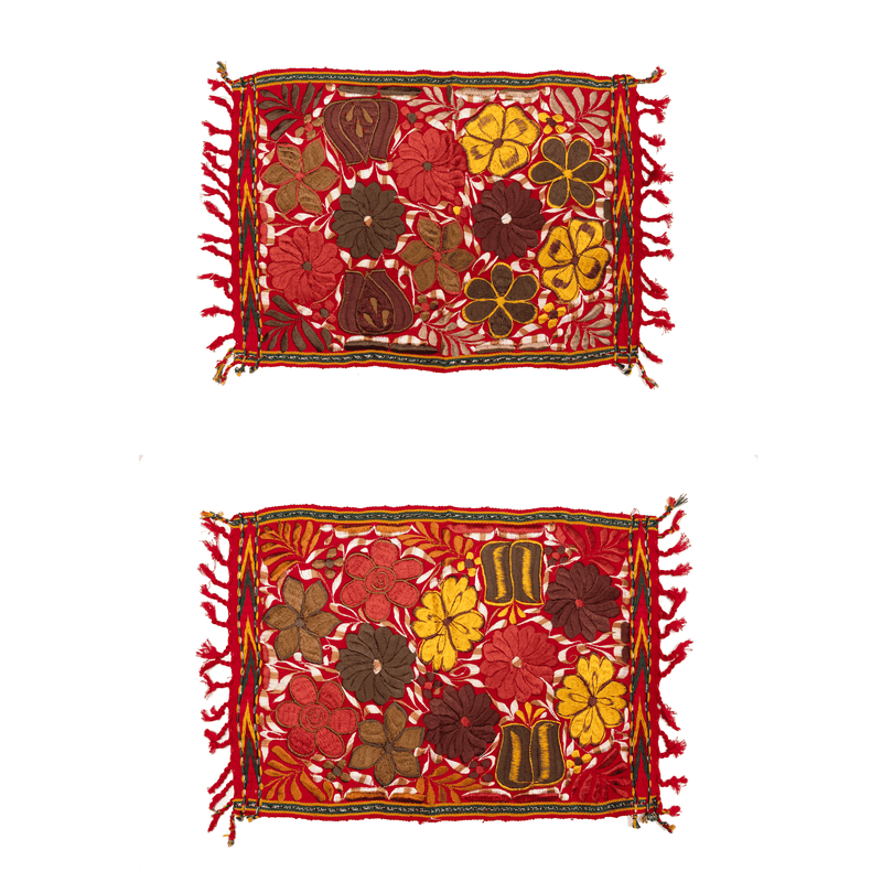 Embroidered Placemats in Fall Hues- Set of 2- Red #1 - Josephine Alexander Collective