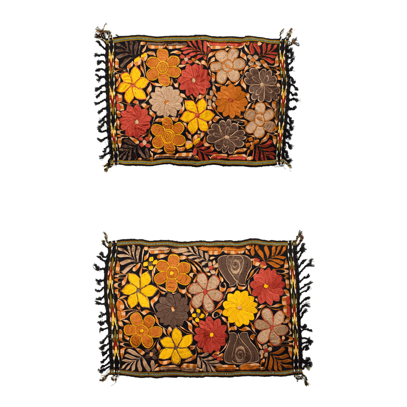 Embroidered Placemats in Fall Hues- Set of 2- Black #6 - Josephine Alexander Collective