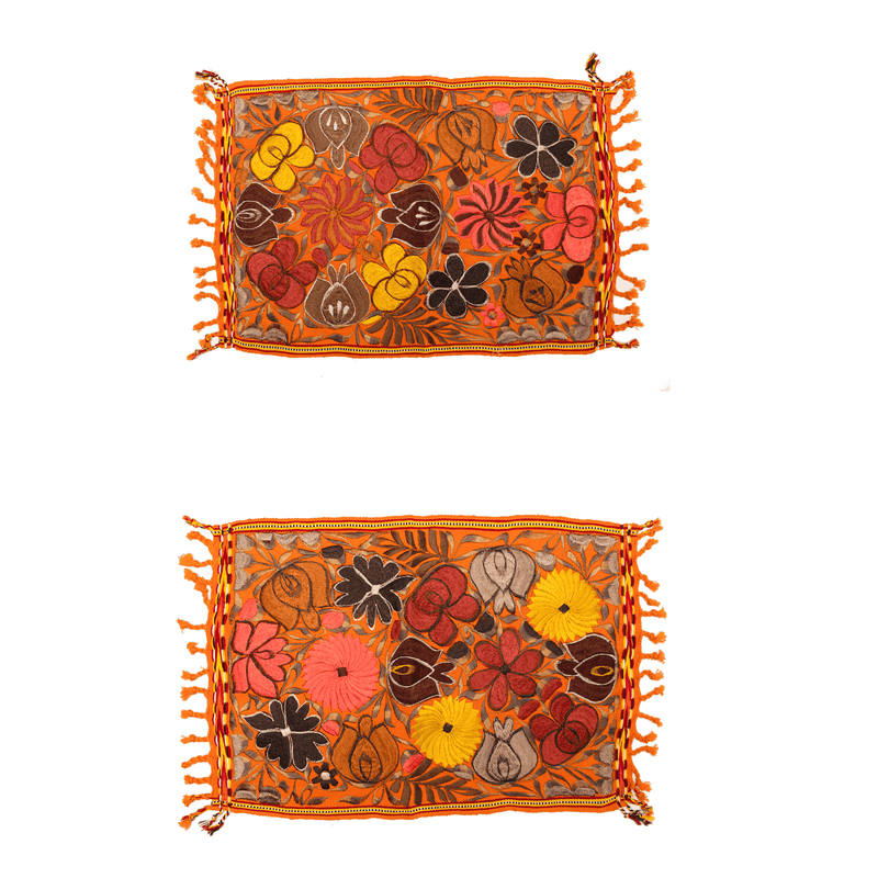 Embroidered Placemats in Fall Hues- Set of 2- Orange #2 - Josephine Alexander Collective