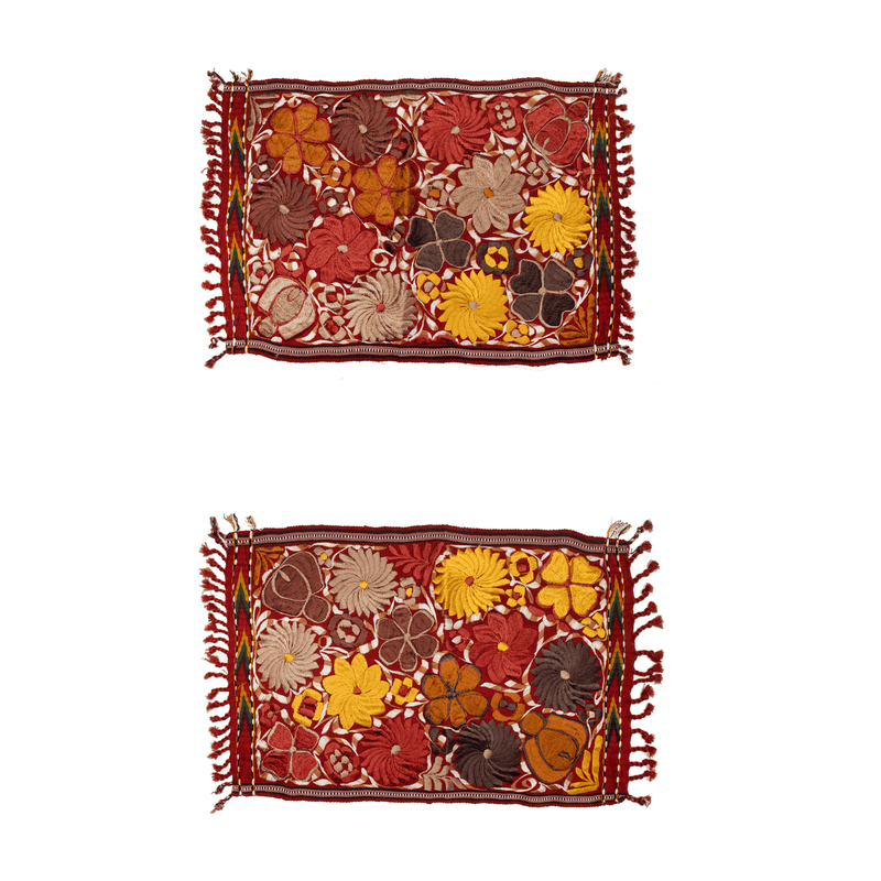 Embroidered Placemats in Fall Hues- Set of 2- Brick #1 - Josephine Alexander Collective
