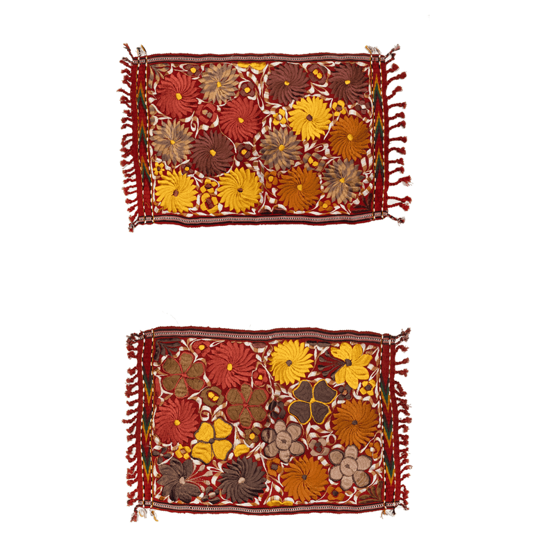 Embroidered Placemats in Fall Hues- Set of 2- Brick #2 - Josephine Alexander Collective