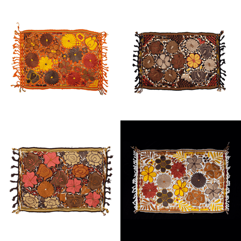 Embroidered Placemats in Fall Hues- Set of 4 - Mixed #2 - Josephine Alexander Collective