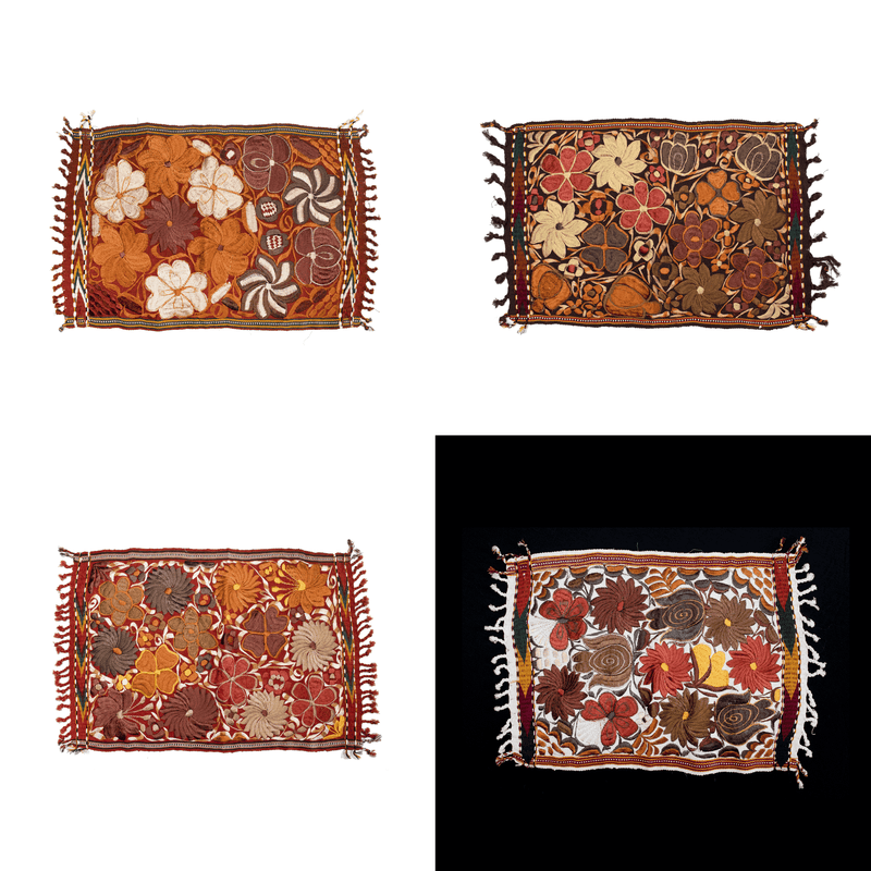 Embroidered Placemats in Fall Hues- Set of 4 - Mixed #3 - Josephine Alexander Collective