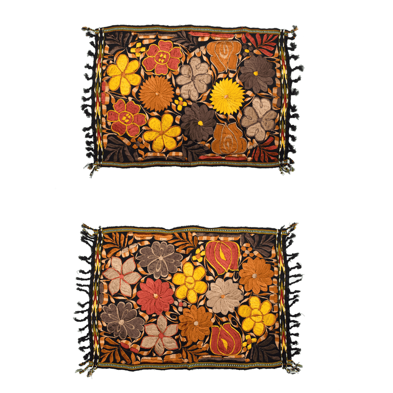 Embroidered Placemats in Fall Hues- Set of 2 -Black #1 - Josephine Alexander Collective