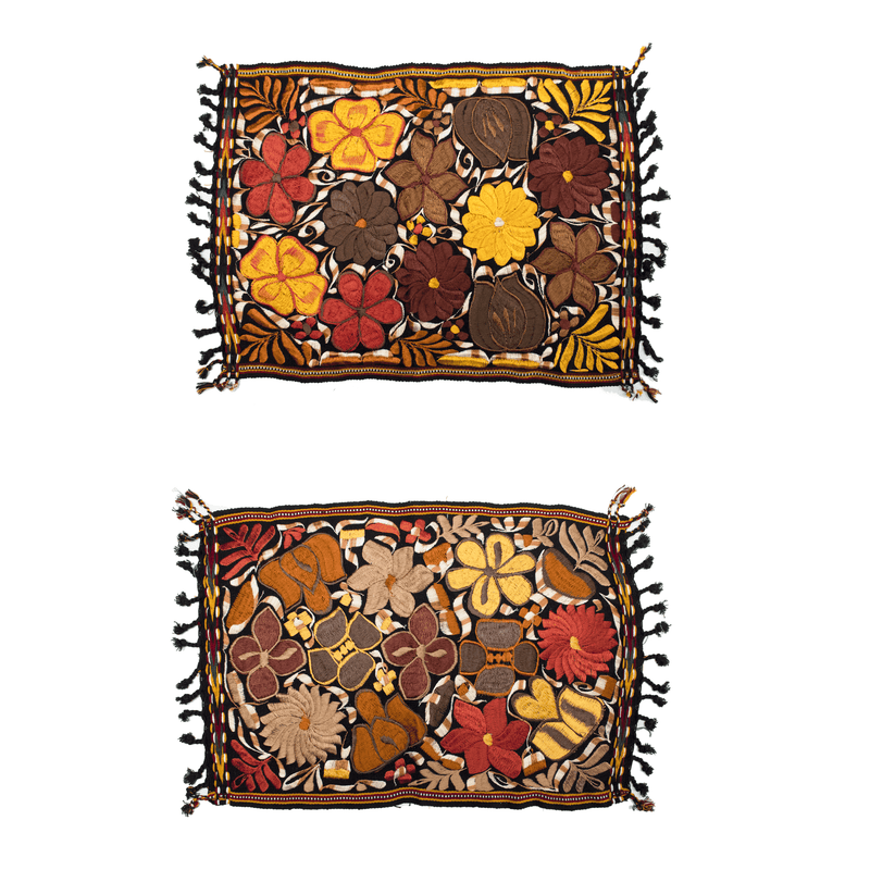 Embroidered Placemats in Fall Hues- Set of 2 - Black #3 - Josephine Alexander Collective