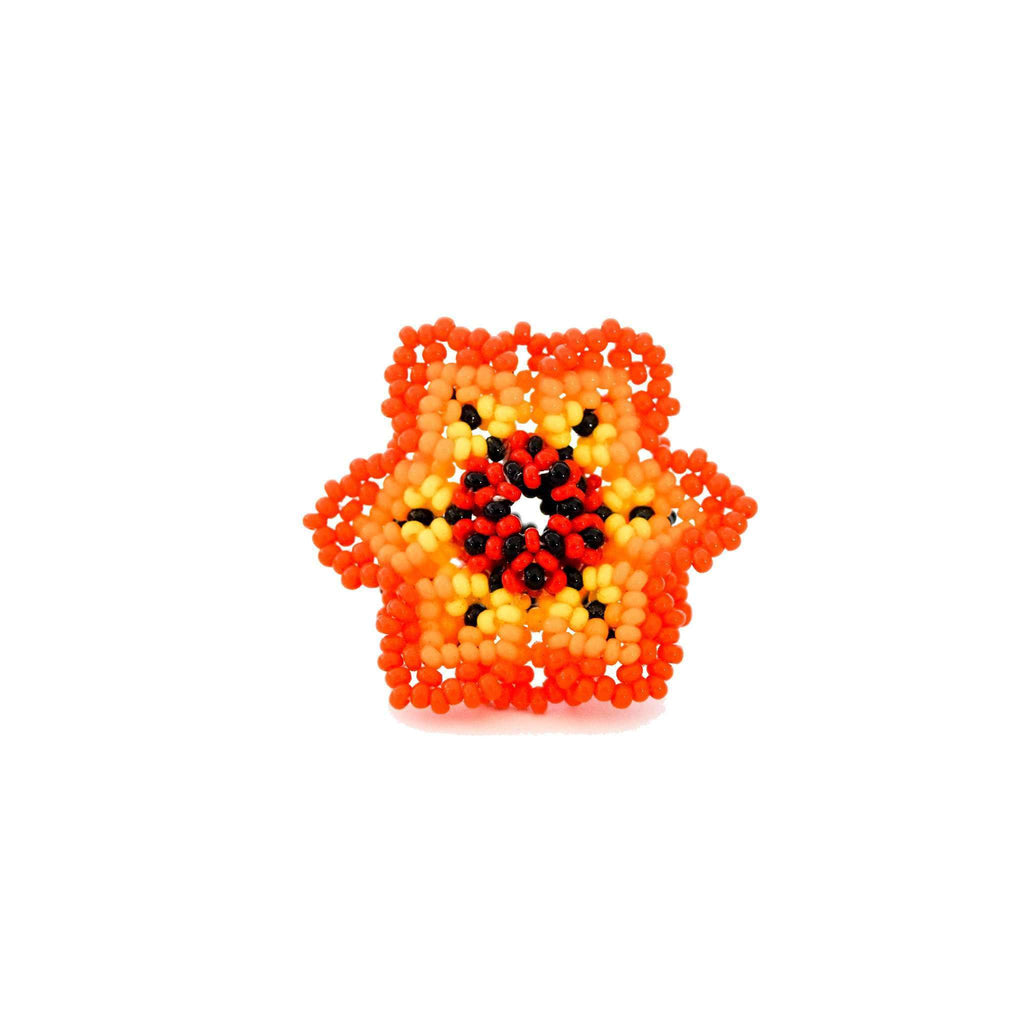 Beaded Flower Ring in Tiger Lily