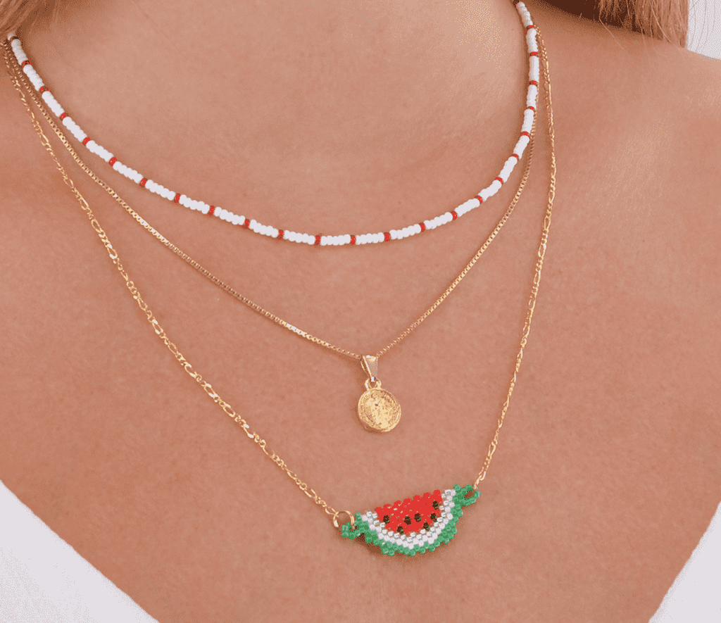 Watermelon Slice Necklace Stack - Josephine Alexander Collective