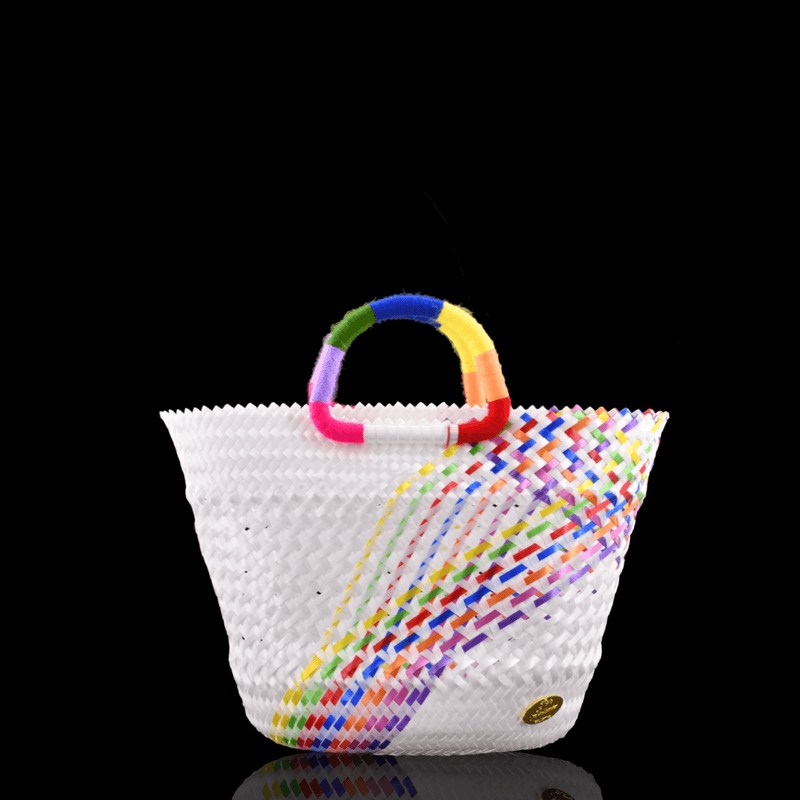 Lulu Basket Bag in White Splash of Rainbow - Josephine Alexander Collective
