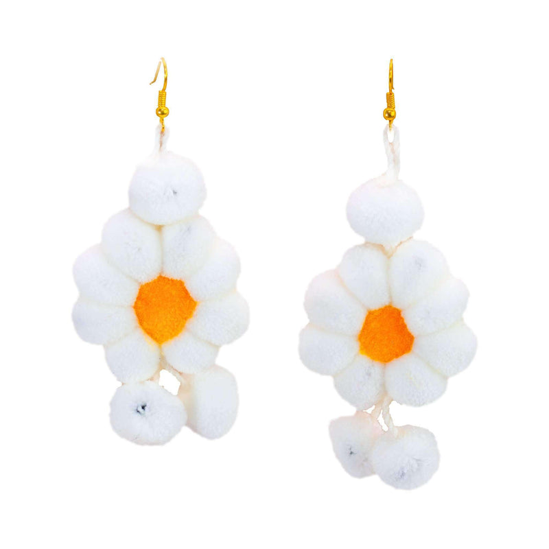 Pom Flower Earrings in White