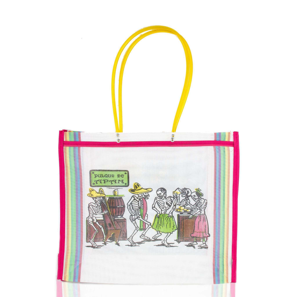 Dia de Muertos Market Bag in White