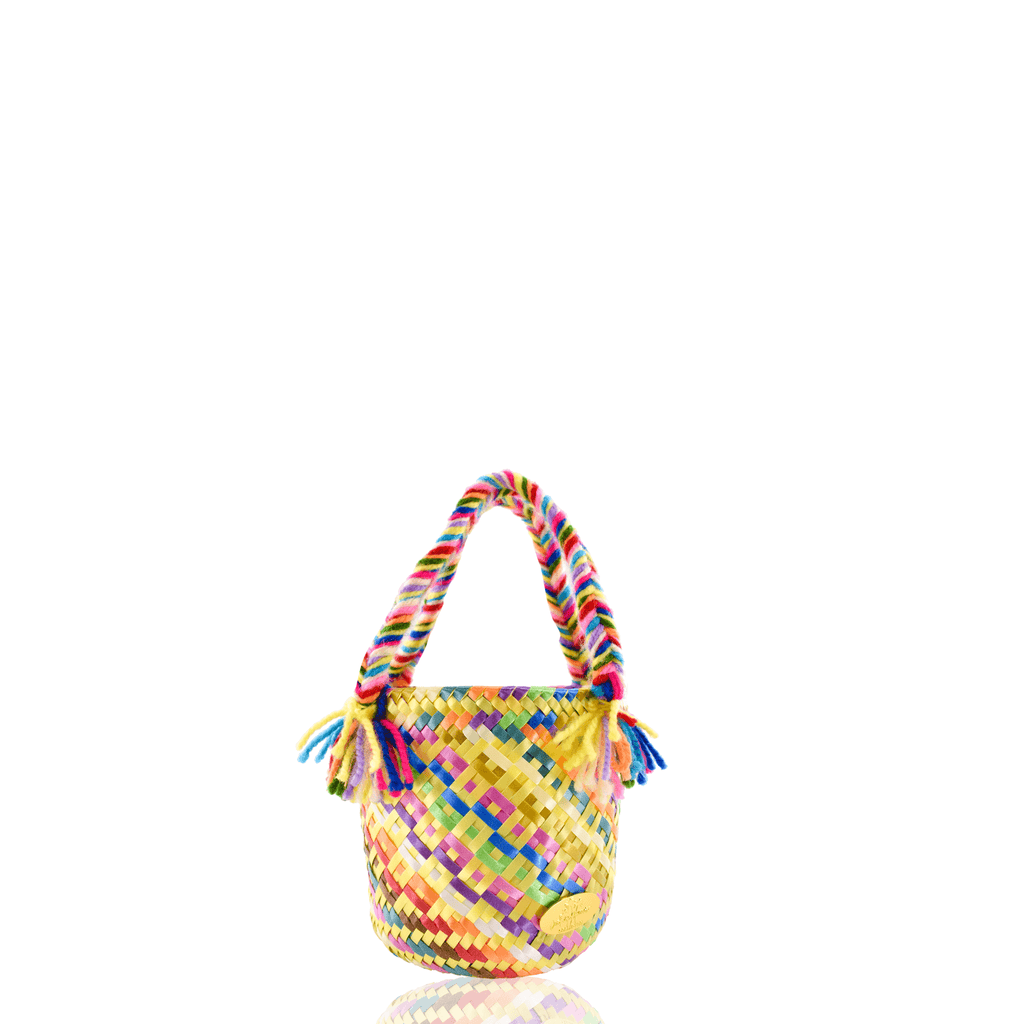 Mini Rainbow Bucket Bag in Pineapple