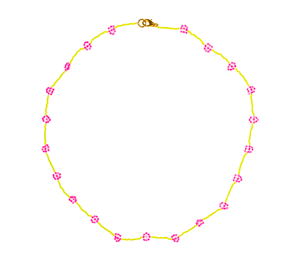 Beaded Daisy Necklace in Neon Yellow and Pink - Josephine Alexander Collective
