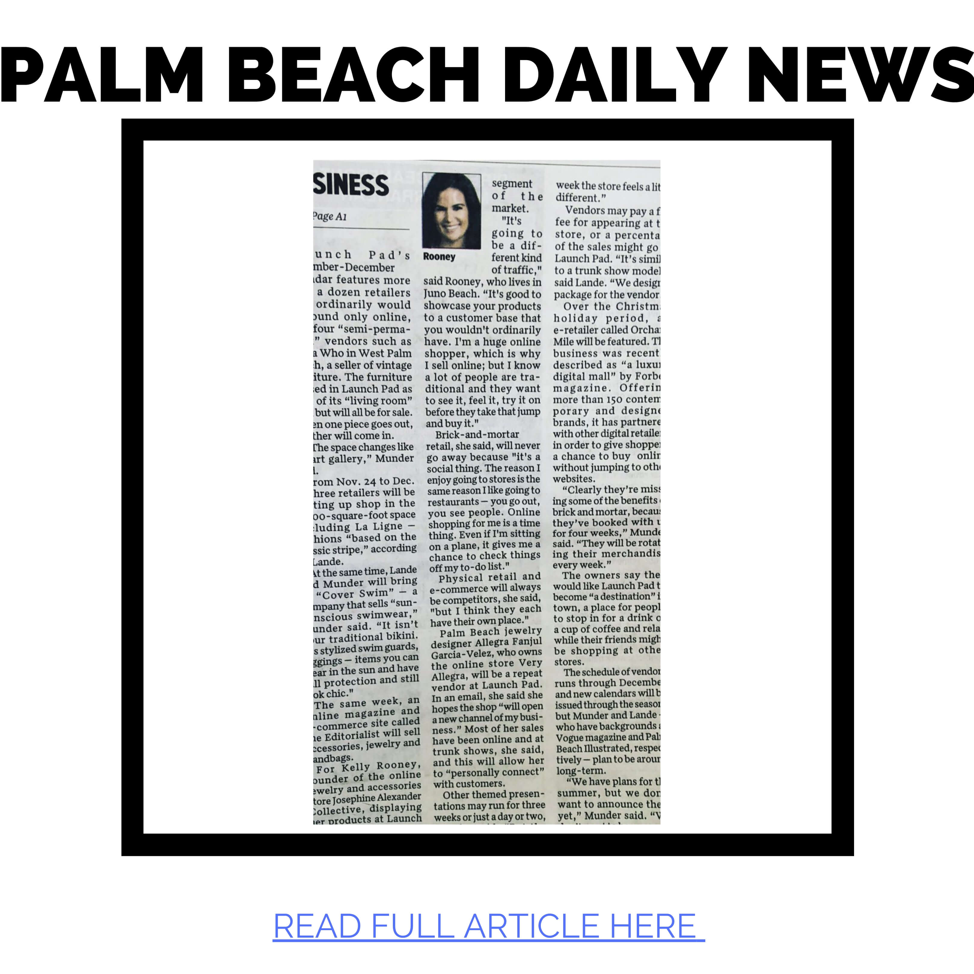 Kelly Rooney CEO of JAC featured in Palm Beach Daily News