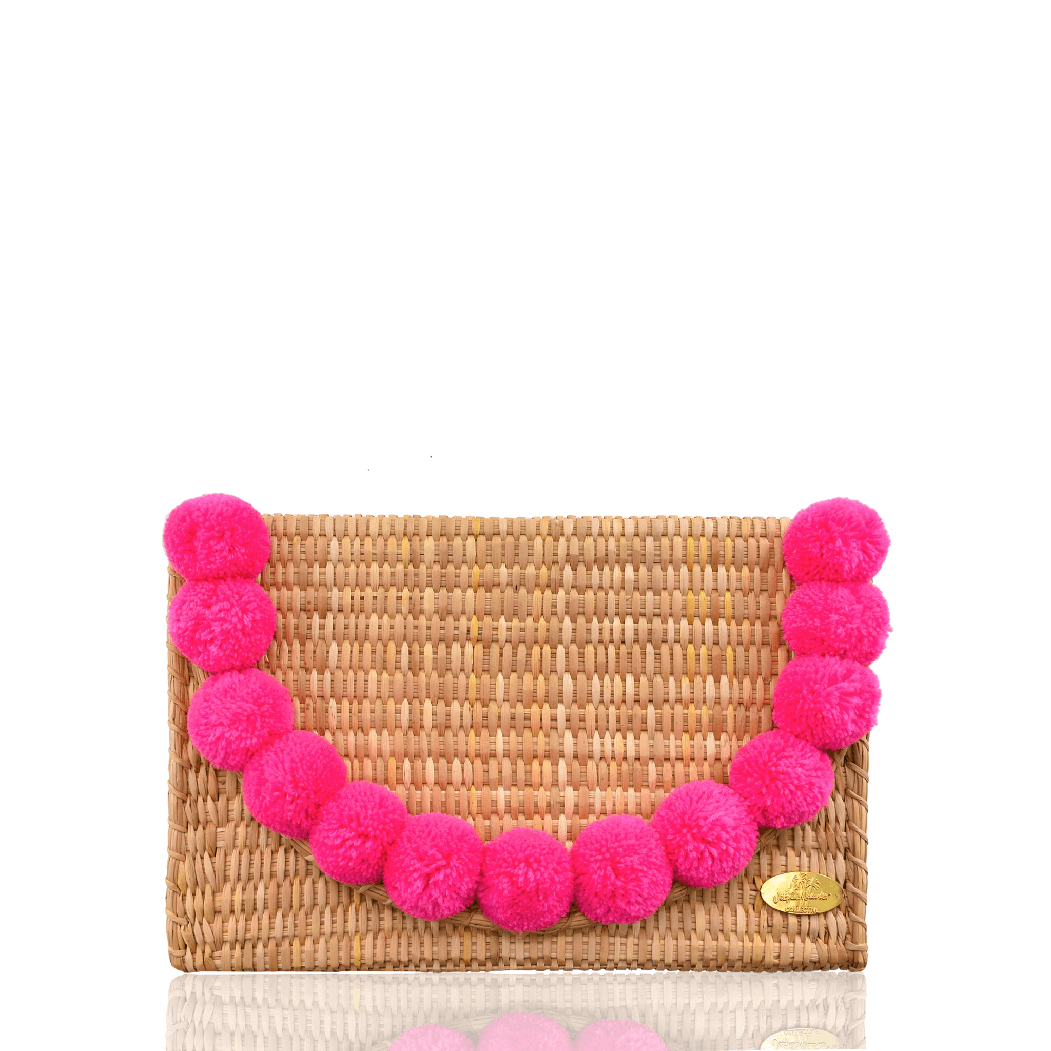 Abby Straw Clutch with Poms